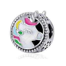 tropischer schmuck großhandel Rabatt Haha Schmuck Bunte Einhorn Charm Authentic 925 Sterling Silber Charm Kompatibel für Original Pandora Charms Animal Series Bracelet Making