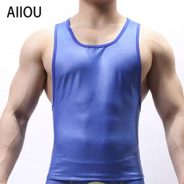 Sottopelle di poliestere online-AIIOU Uomo Collant Maglia intima Canotta Wrestling Canotta Gay Imitazione Leather Wear Poliestere Smooth Sleeveless Undershirt