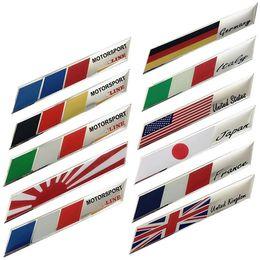 2019 royaume-uni voitures 100pcs / lot 10x1.5cm MSLINE emblème décalques Italie Allemagne Japon France États-Unis Royaume-Uni drapeaux nationaux autocollants de voiture royaume-uni voitures pas cher