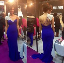 Robes de soirée pour femmes bleu royal en Ligne-Bleu royal une épaule strass robes de soirée sirène satin longues robes de soirée longues robes sexy dos nu femmes