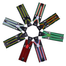 Bretelle arcobaleno online-Bretelle a righe 2.5 * 100CM Adulto Elastico Y-back 20 colori Arcobaleno cinturino regolabile Bretelle per Clip-on Hallowmas Regalo di Natale