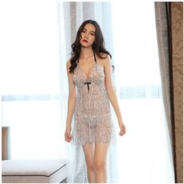 84b1c2ba831 2019 new Sling skirt See Through Sexy Lingerie Women Lace Dress Sleepwear  Underwear G-String Sheer Sleepwear Chemises