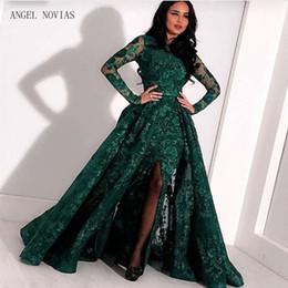 2019 vestido de festa cinza jantar Mangas compridas Lace Sereia Verde Gola Alta Árabe Vestido de Noite 2018 kaftan Dubai Vestidos de Noite Formais com Saia Destacável