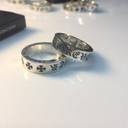 sterling silber kreuz ringe frauen Rabatt Vintage Echt Reine 925 Sterling Silber für immer Ring Sanskrit Kreuz Ringe Glück Eröffnung Ringe für Männer Frauen Edlen Schmuck