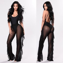 pantaloni lunghi trasparenti Sconti 2018 Fashion Women Mesh Sheer Sexy Trasparente Bodycon Long Ruffles Pantaloni Casual Pantaloni Solid Solid Pantaloni a vita alta