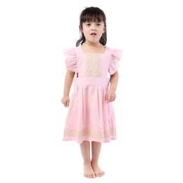 Kurze kittelstile online-Flattern Rosa Kurze Ärmel Kinder Leinen Kleid Kleidung Baby Mädchen Mode Trendy Rural Style Kleider Großhandel