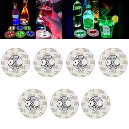 Barra de adesivo on-line-Led Bar Cup Coaster Light Up Cup Sticker Para Bebidas Suporte de copo Luz Licor de vinho Garrafa Decoração de festa de casamento Suprimentos HH9-2386