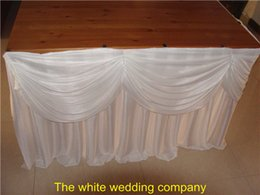 wedding table skirting swag Promo Codes - 2pcs 19ft White Ice Silk Table Skirt With Swag For Wedding Party Banquet Free Shipping