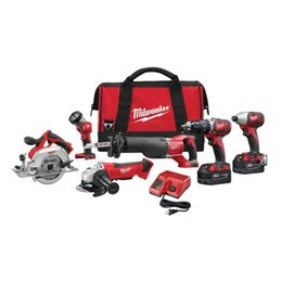 Milwaukee Cordless Combo 6-Tool Kit M18 18 Volt Li-ion Batterie W / Caricabatterie da