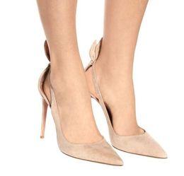 Искусственный замшевый насос онлайн-Бежевые искусственные замшевые туфли на шпильках женские туфли на высоком каблуке заостренный носок лодыжки ремень женская обувь сексуальные высокие каблуки свадебные туфли