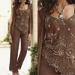 plus size mother bride beaded suits Promo Codes - Elegant Brown Classic Sequin Beaded Mother Of The Bride Groom Pant Suits With Jackets Custom Made Wedding Guest Dress Plus Size