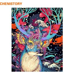 Ilustraciones de ciervos online-CHENISTORY Christmas Deer Animal DIY Painting By Numbers Wall Art Canvas Painting Home Decor For Living Room Unique Gift Artwork