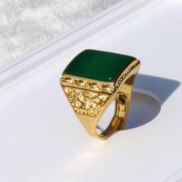 homens anel de ouro ágata Desconto Homens da Europa Anel Sênior Dragão Verde Pesado 24 k de Ouro Sólido Tamanho Cheio Ágata Aberta pedra Punk Gótico
