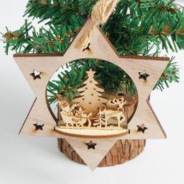 colgantes rústicos Rebajas 3D copo de nieve adornos de madera rústica Feliz árbol de navidad ornamento colgante colgante de Navidad Decoraciones para el hogar