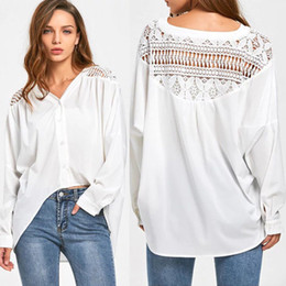 a0beb14500af2b Trendy Women clothes Ladies Loose Casual Long Sleeve Button Shirts Geometry  pullover White Cotton Blouses one pieces