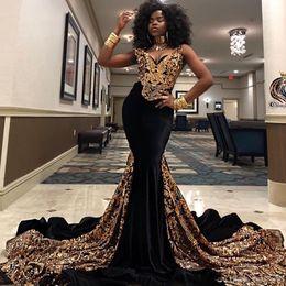2019 vestidos formais para meninas tamanho 14 Sul Africano Meninas Negras Sexy Decote Em V Sereia Vestidos de Baile Ouro Lantejoulas Vestidos de Noite Plus Size Formal Vestidos de Festa Abendkleider Dubai desconto vestidos formais para meninas tamanho 14