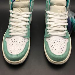 Air 1 High OG Turbo Green 555088-311 1s I White Mujer Hombre Baloncesto Zapatillas de deporte Zapatillas Zapatillas de deporte de calidad superior con caja original desde fabricantes