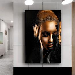 Pintura de mujeres desnudas fotos online-Arte Africano desnuda Oro Negro Aceite Mujer pintura sobre lienzo Cuadros carteles e impresiones escandinava cuadro de la pared de la sala de estar