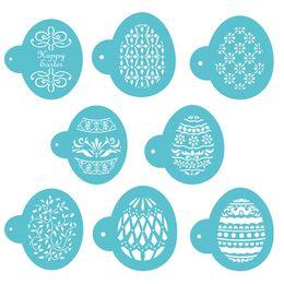 Plätzchen-dekoration werkzeuge online-Kaffee Vorlage Osterei Form 8 Teile / satz Ostereier Backformen Kuchen Dekorieren Tools Cookie Fondant Formen