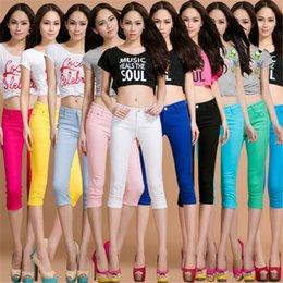 Pantalon en coton de couleur pour femme en Ligne-Plus La Taille En Coton Entier Couleur Femme Maigre Femmes Jeans Force Élastique Pantacourt Crayon Pantalon Taille Haute Jeans