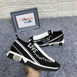 Zapatillas de tela online-IMPRESO Sorrento Entrenadores Hombres tejido elástico zapatos sin cordones Zapatos de diseño Micro suela transpirable zapatillas de deporte de moda de Whoesale 2020
