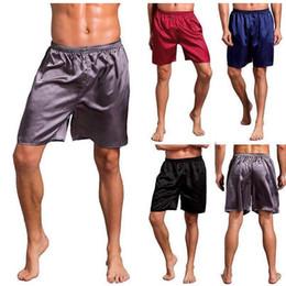 Ropa de dormir para hombre pantalones cortos online-Casual Loose Mens Satin Silk Pijama Shorts Summer Sleepwear Soft Boxer Underwear Pajama Sexy Nightwear Underpants pyjama homme