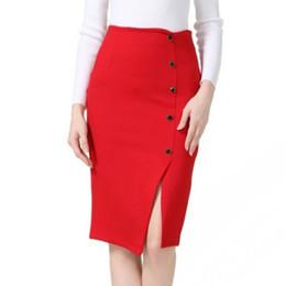 Saia de um botão on-line-High Elastic Feminino New Button Decoração Frente Dividir Cintura Alta Sexy One Step Career Pacote Hip Saia Plus Size S-5XL
