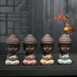 керамические фигурки Скидка Маленький статуя Будды монах рисунок Индия йога Мандала чай домашнее животное керамические ремесла декоративные 4 стили бесплатно DHL 433
