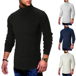Suéter azul de cuello alto para hombre online-Casual Solid Autumn Casual Men 's Sweater Cuello alto Slim Fit Knittwear Mens Sweaters Jerseys Winter Blue Men Pull Homme M-2xl