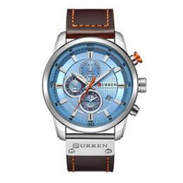 Модные черные люди онлайн-New CURREN 8291 Watches Men Black quartz Top  Men's Calendar Watches Mens Business Wristwatch Waterproof Dropshipping Saat