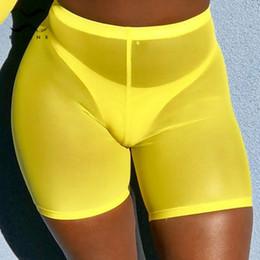 Gelber maschenbikini online-Bikinx Summer beach wear Mesh-Hosen transparenter Bikini 2019 neue Hosen Sexy Badeanzug weiblich Gelb Bademode Frauen Badeanzug