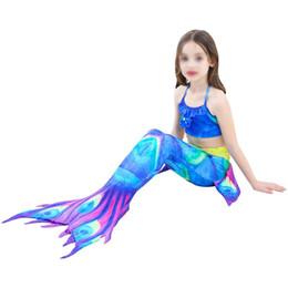 Costumi sirena bambino online-Bambini Mermaid Bikini 3 Pezzi Un Set Costume da Coda Mermaid Costume Bikini Per Estate Mare Spiaggia Ragazza Kid Bambino Swim Wear Suit