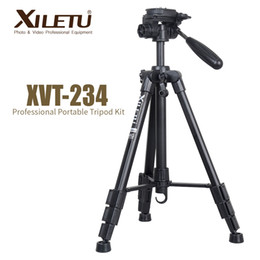 Trípodes panorámicos online-XILETU XVT-234 trípode de video de cámara panorámica profesional de aluminio portátil para cámara digital videocámara Canon Nikon Sony