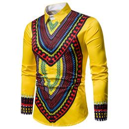 designer vestido de camisa de impressão floral Desconto Masculinos designer vestido camisas Primavera Floral Impresso Fique Collar Moda shirt de manga comprida Tops