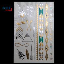 plata metalica Rebajas Hot DIY Flash Tattoo Gold Silver Metalic Tatuajes temporales Collar de oro Tatuaje de plumas Envío al por mayor