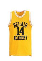 Fiestas de baloncesto online-Smith # 14 Bel Air Academy Jersey amarillo de baloncesto S-XXXL, 90S Ropa de hip hop para fiestas, letras y números cosidos
