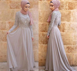 tulle dress hijab Promo Codes - 2019 Silver Gray Evening Dresses Hijab Arabic Dubai Vintage Long Sleeve High Neck Formal Occasion Party Gowns Prom Dress Appliqued BC1714