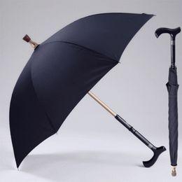 Mango deslizante online-Hombres paraguas creativo caña escalada paraguas largo mango paraguas masculino bastón antideslizante masculino a prueba de viento paraguas lluvia Gear MMA1699
