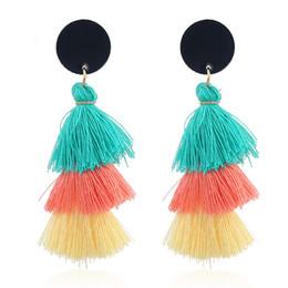 Pendientes de borla para las mujeres Joyería de moda Cara con flecos Diminuto Pendiente de gota Regalo de la joyería femenina Pendientes llamativos bohemios desde fabricantes