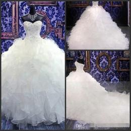Robes de mariée chine en Ligne-Image réelle Cristal Perlé Vintage Corset Blanc Sexy Mariées Plus Robes De Mariée Taille Nouveau Style Chine Sexy Robes De Mariée Longues