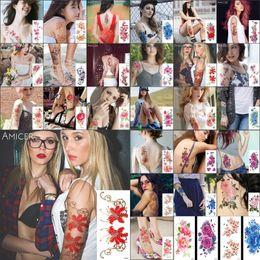 trajes de joya Rebajas Mujeres Cuerpo Follaje Tatuajes temporales Impermeables Tatuajes temporales Pegatinas Sexy Rosa roja Flores Brazo Hombro Tatuaje