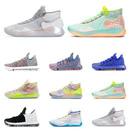 2019 кд домашняя обувь Горячие Продажи KD 10 12 Мужчины Баскетбол Спортивная обувь Wolf Grey WARRIORS HOME EYBL 90S KID STILL KD BLACK WHITE Спортивные Кроссовки Size7-12 скидка кд домашняя обувь