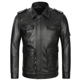 2020 chaquetas de cuero para hombres Chaquetas de cuero para hombre de la Fuerza Aérea Real Chaquetas de cuero de vaca gruesa genuina para hombres Pilot Aviator Coat Otoño Invierno Multi-bolsillo chaquetas de cuero para hombres baratos