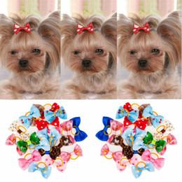 2019 hund gummibänder 20 teile / satz Sortierte Haustier Katze Hund Haarschleifen mit Gummibändern Pflege Zubehör Kleintiere Habitat Decor günstig hund gummibänder