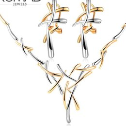 набор крест серьги ожерелье Скидка designer jewelry cross shape jewelry sets double color branches earrings necklaces for women simple hot fashion