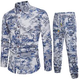 2019 camisas bohemias de los hombres FeiTong Clothes Men Set Spring 2019 Camisa casual de manga larga Business Slim Fit Camisa bohemia Hombres Blusa estampada Top + Pantalones Traje rebajas camisas bohemias de los hombres