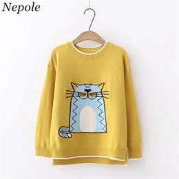 2019 patrón de gato de punto Neploe Catoon Cat Pattern Knitted Sweet Girl Sweater Mujer Jersey cálido 2019 Otoño Invierno Moda O-cuello Sueter Mujer 69234 rebajas patrón de gato de punto