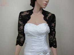 Chaqueta de noche de bolero negro online-Elegante encaje mujeres Bolero mangas tres cuartos abrigos elegantes chaquetas negras del partido de tarde de la boda chales de novia Cusom Made