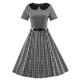 f886d531817 Femmes été Vintage Plaid des années 50 Rockabilly Dress 2019 Peter Pan Robe  Robe Pin Up Femmes Plus La Taille Vêtements Vêtements Robes Femininos