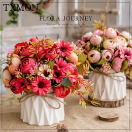 gefälschte blumen vasen Rabatt Nordic künstliche Blume Satz (Blume + Vase) Keramik Hanfseil Vase stieg künstliche Pflanze vergossen Hause Hochzeitsdekoration gefälschte Blume SH190920